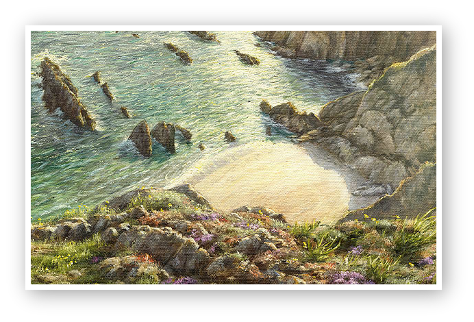 The Cove, Portwrinkle, Cornwall painting detail