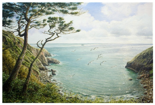 Pudcombe Cove, Coleton Fishacre painting by David W Young