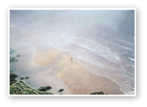 Sea Mist over the Sand Bar, Soar Mill Cove Painting