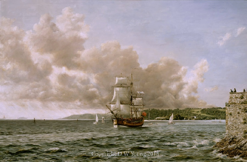 HM Bark Endeavour, Plymouth Sound print enlargement